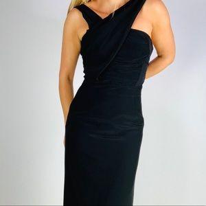 REISS Luz Black Drape wrap Cocktail Maxi Gown 2